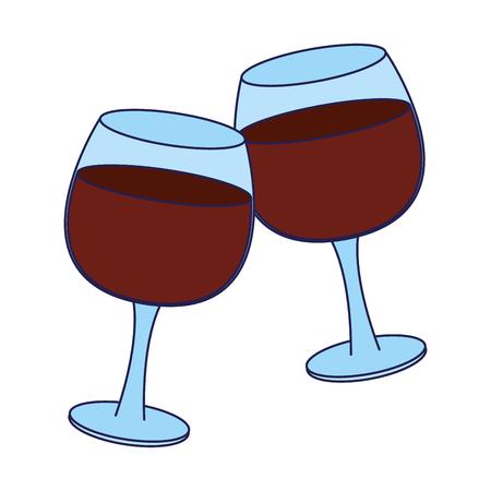 Wine cups toast cartoon vector illustration graphic design Ilustração