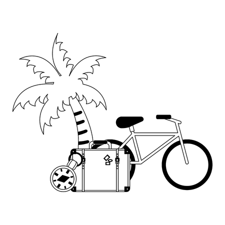 Vacations and travel suitcase and bike with palm clock vector illustration graphic design