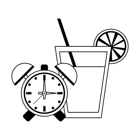 Detox fitness smoothie with alarm clock vector illustration graphic design