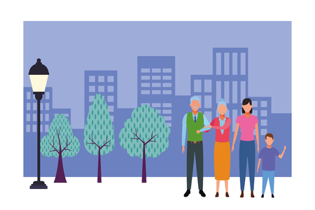 family avatar cartoon character grandparent child in the park cityscape vector illustration graphic design  イラスト・ベクター素材