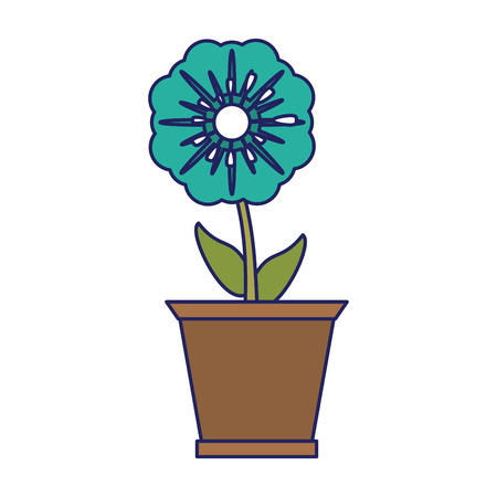 Flower in pot gardening cartoon isolated Standard-Bild - 122856705