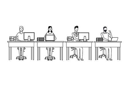 people in office desk with computer books and documents black and white vector illustration graphic design
