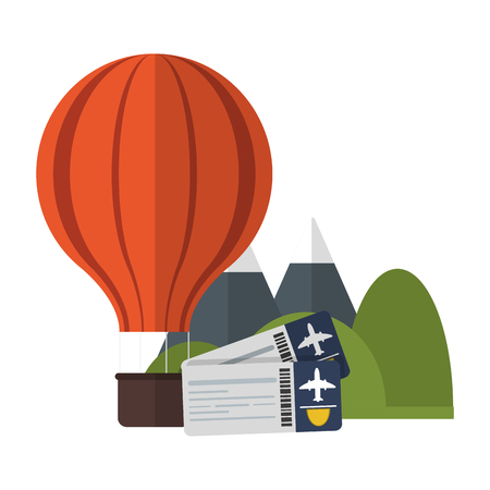 Vacations and travel hot air balloons mountains and flight tickets vector illustration graphic design