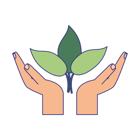 hands protecting leaves plant symbol vector illustration graphic design Banque d'images - 122856747