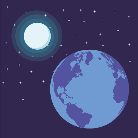 globe with moon and space landscape vector illustration graphic design