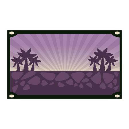 Nature silhouette scenery in frame vector illustration graphic design Иллюстрация