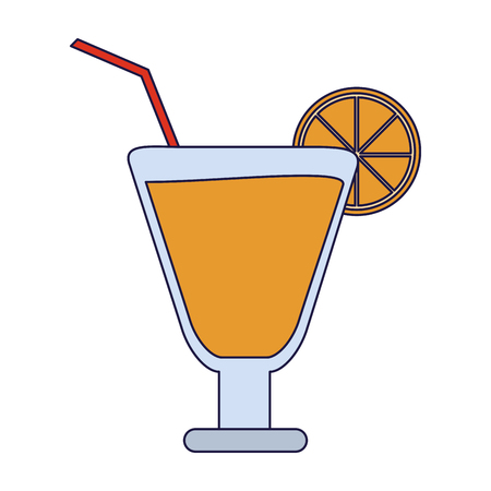 Cocktail with lemon and straw cup vector illustration graphic design vector illustration graphic design