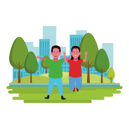 Two kids boy and girl smiling cartoons in the city park urban scenery vector illustration graphicdesign