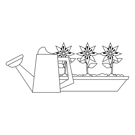 Gardening plants and tools water can and flowers Designe