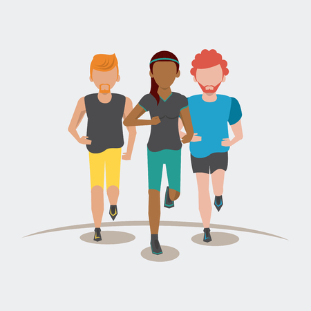 Fitness people running frontview gray background vector illustration graphic design