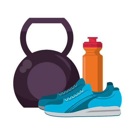 Fitness and gym equipment kettlebell and water bottle with sneakers vector illustration graphic design