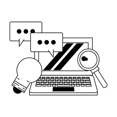 computer with speech bubble and light bulb icon cartoon vector illustration graphic design black and white Ilustrace