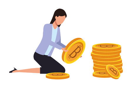 businesswoman holding cryptocurrency bitcoin vector illustration graphic design Imagens - 122857085