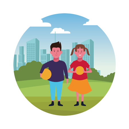 Two kids boy and girl with ball smiling cartoons in the city park urban scenery round icon vector illustration graphicdesign Illustration
