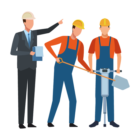 Construction workers tools and engineer boss vector illustration graphic design