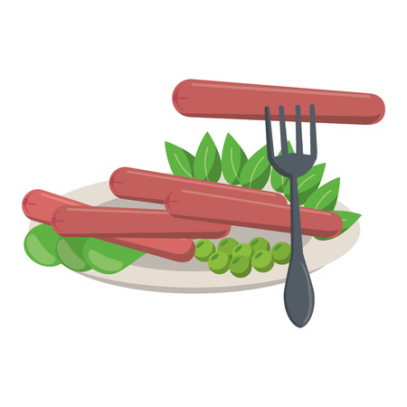 Sausages and salad on dish with fork vector illustration graphic design