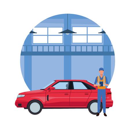 car service manufacturing worker in front car cartoon vector illustration graphic design Ilustração