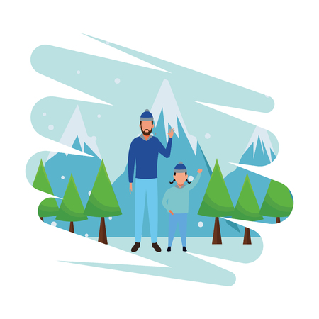 young man and child wearing winter clothes with knitted cap snow mountain lanscape vector illustration graphic design
