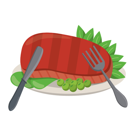 Beef steak with lettuce and cutlery cartoon