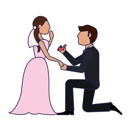 Wedding couple proposal cartoon vector illustration graphic design Illustration