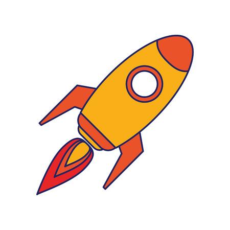 Rocket spaceship taking off symbol vector illustration graphic design Stock Illustratie