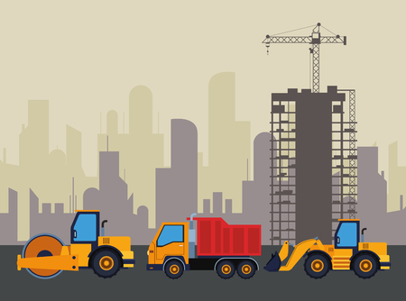Construction vehicles steamroller and truck with excavator machinery in construction zone with crane scenery vector illustration graphic design