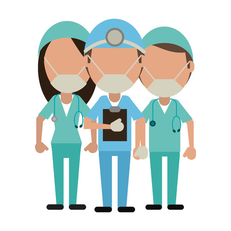 Medical teamwork avatar doctors with clipboard vector illustration graphic design