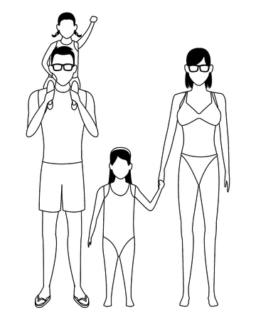 family avatar cartoon character wearing summer clothes swimwear sunglasses black and white vector illustration graphic design Illustration