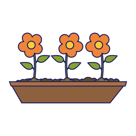 Flowers in ground cartoon icon ilustration vector