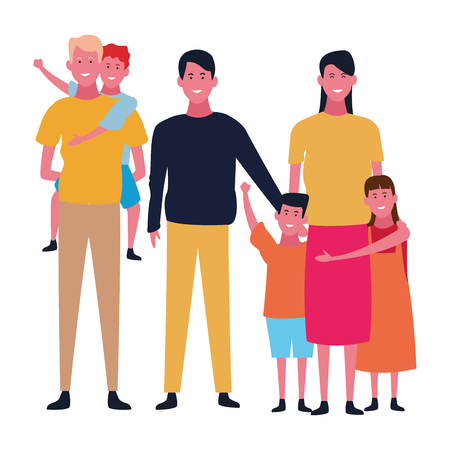 Family father with son and mother with boyfriend vector illustration graphic design