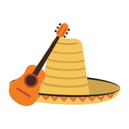 Acoustic guitar and mexican hat vector illustration graphic design 向量圖像