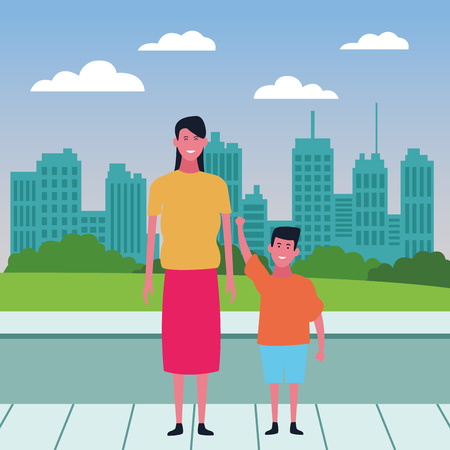 Single mother with kid son cartoon over cityscape scenery