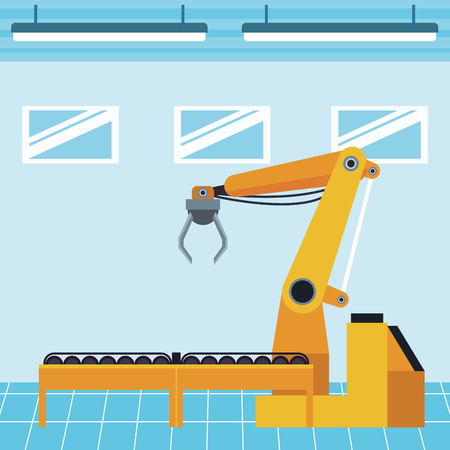 industry manufacturing assembly hook cartoon vector illustration graphic design