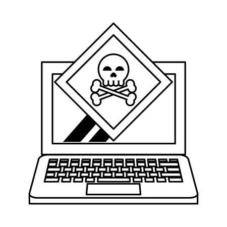 danger sign with computer icon cartoon vector illustration graphic design black and white