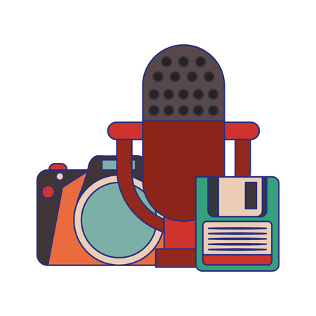 vintage camera with microphone and cassette vector illustration graphic design