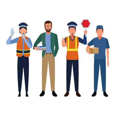 Jobs and professions professionals workers isolated vector illustration graphic design Illustration