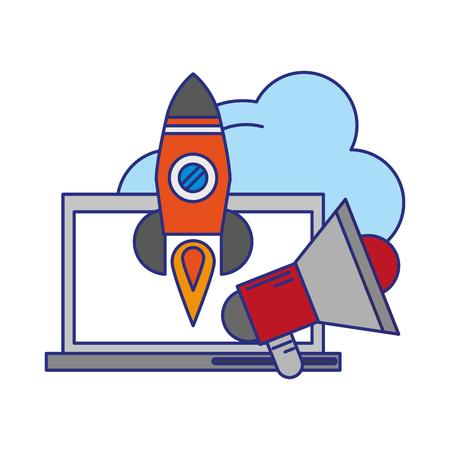 computer with peripone and rocket icon cartoon vector illustration graphic design Ilustração