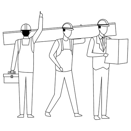 Construction workers tools and engineers vector illustration graphic design