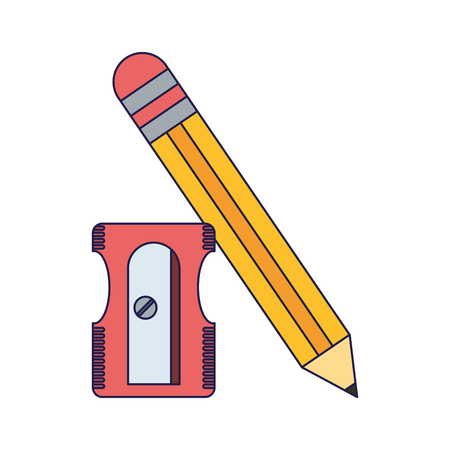 School utensils and supplies pencil and sharpener Designe Illustration