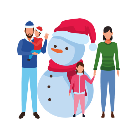 family with snowman christmas hat scarf and knitted cap vector illustration graphic design 向量圖像