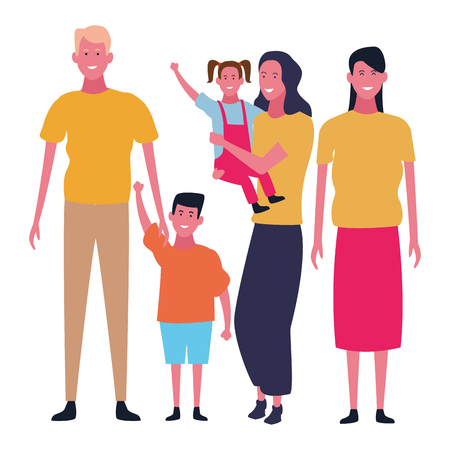Family father and mother with kids and friend vector illustration graphic design