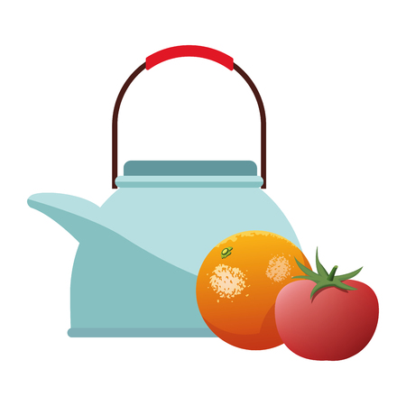 orange and tomato icon cartoon isolated with tea pot vector illustration graphic design