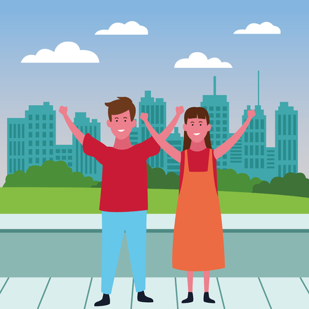 Cute kids boy and girl smiling cartoon over cityscape scenery