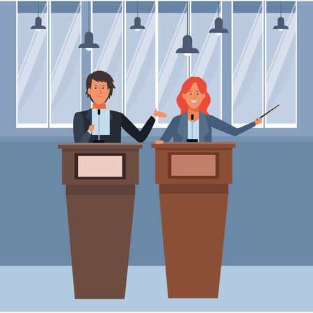 couple in a podium making a speech with wand indoor vector illustration graphic design Ilustrace
