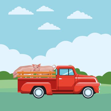 truck and pig icon cartoon rural landscape vector illustration graphic design Illustration