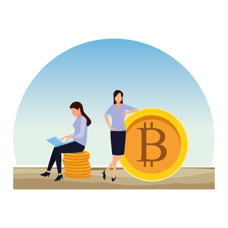 businesswomen holding cryptocurrency bitcoin sitting with laptop outdoor vector illustration graphic design Illustration