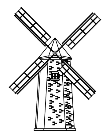 windmill icon cartoon isolated black and white vector illustration graphic design Reklamní fotografie - 122821550
