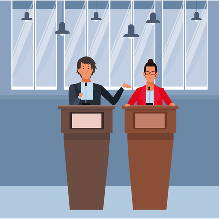 couple in a podium making a speech wearing glasses indoor vector illustration graphic design
