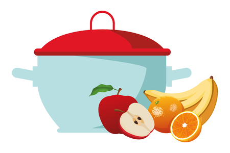 fruits icon cartoon with cooking pot vector illustration graphic design