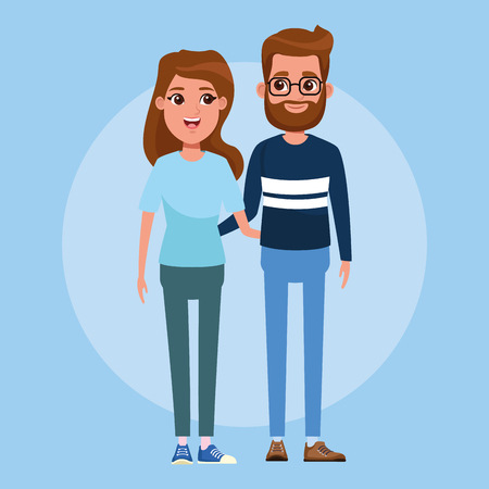 Young couple boyfriend and girlfriend cartoon vector illustration graphic design